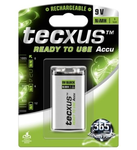 1 Stück Block 9V-Akku, 200 mAH tecxus, ready to use