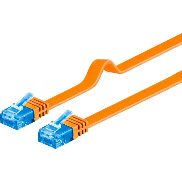 Patchkabel Cat 6a, Flachkabel 7m, orange