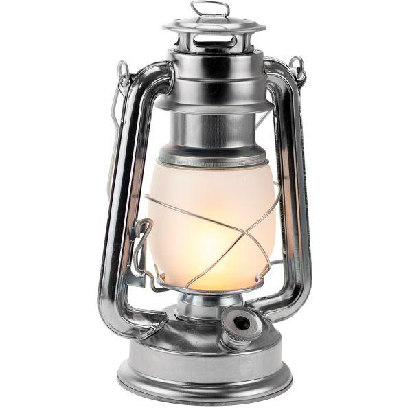 LED Retro-Laterne silber mit warmweißem Flammen-Licht