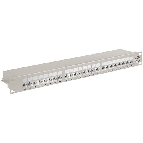 Patch Panel CAT6A 24Port, geschirmt, grau
