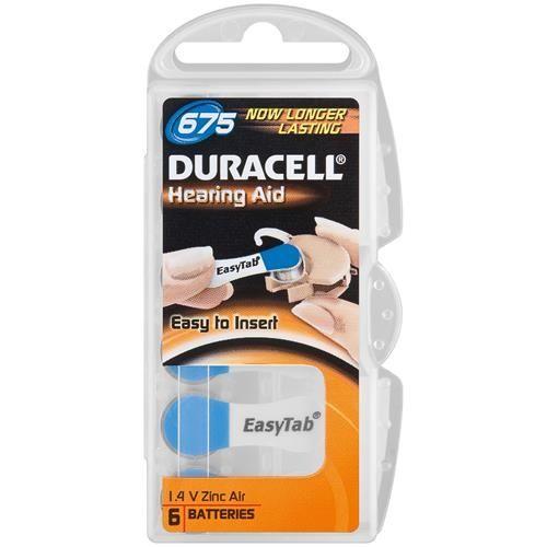 Hörgerätebatterie Duracell EasyTab 6 Stück V 675
