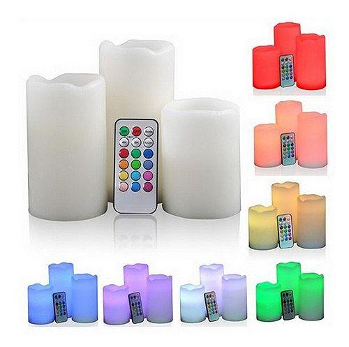 LED Kerze RGB + Fernbedienung Farbwechsel, 3er Set