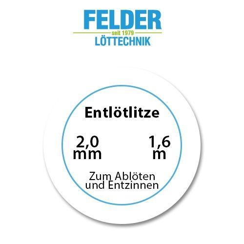 Entlötlitze FELDER, 2,0mm, Kupferlitze, 1,60m Spule