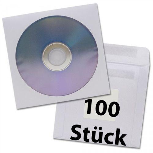 DVD-Hüllen, 100 Stück, Papierfenstertasche, Klebe
