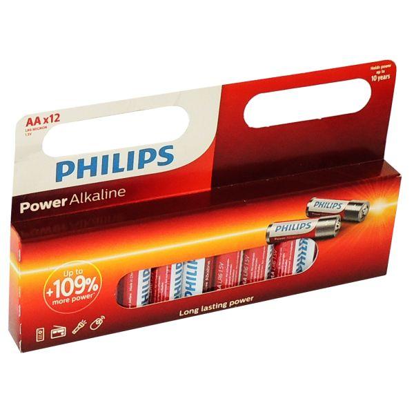 12 Stück AA / Mignon Alkaline-Batterien, Philips