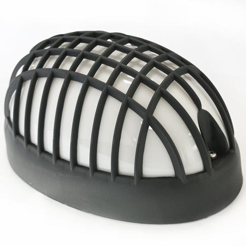 wandlampe oval gitter schwarz ip44. Black Bedroom Furniture Sets. Home Design Ideas