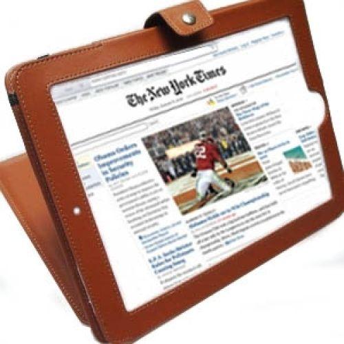 Kunstleder Case/Ständer für iPad Braun