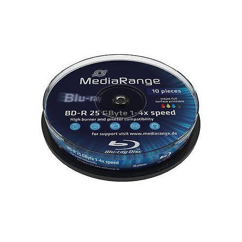 10 St. Blu-ray Rohlinge, MediaRange, 4x, 25GB, printable
