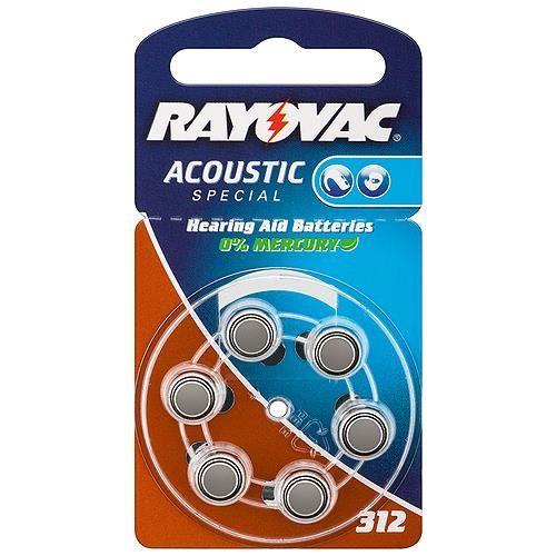 Hörgerätebatterie Rayovac / Varta 6 Stück V 312