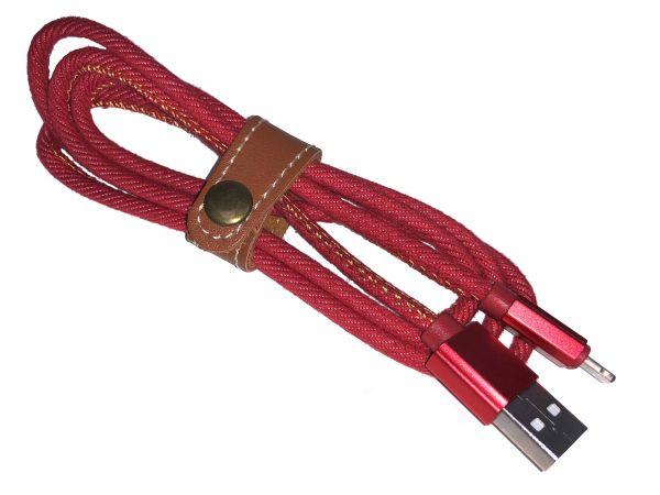 Premium Ladekabel Lightning, Textil rot