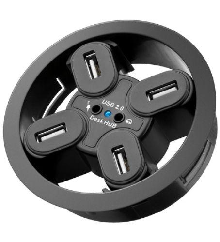 USB 2.0 Verteiler 4fach mit Audio-Buchsen