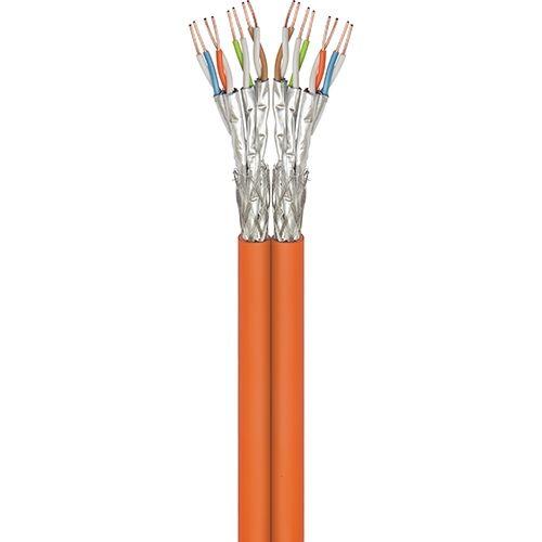Cat7A Duplex-Netzwerkkabel 100m, S/FTP, PiMF, orange