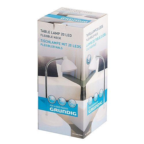LED Grundig Schwanenhals-Tischlampe, weiß