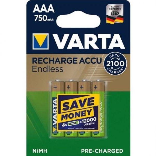 4 Stück AAA-Akkus, 750mAH Varta, Endless-Charge