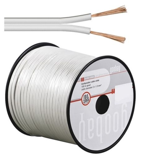 Lautsprecherkabel weiß, Q.2x0,50, 100m, CU