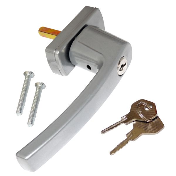 Abschließbarer Fenstergriff, 2 Schlüssel, silbergrau
