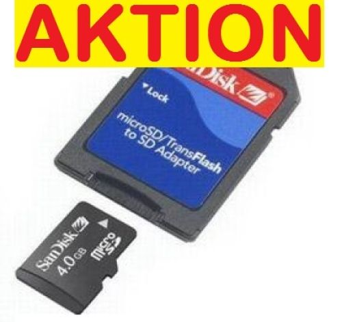 *Micro SDHC Card, 4.0 GByte, SanDisk mit SD-Adapter