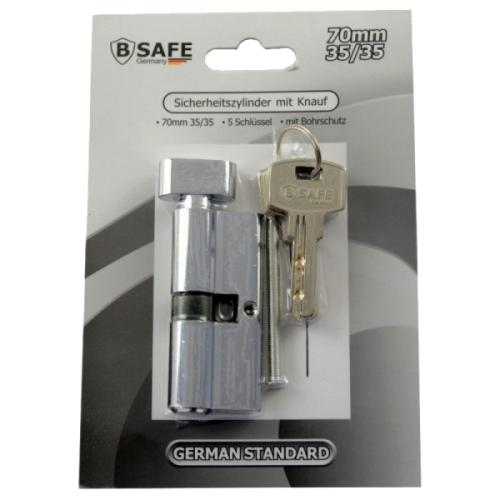 sicherheitszylinder mit knauf 70mm 35 35 mit 5 schl sseln. Black Bedroom Furniture Sets. Home Design Ideas