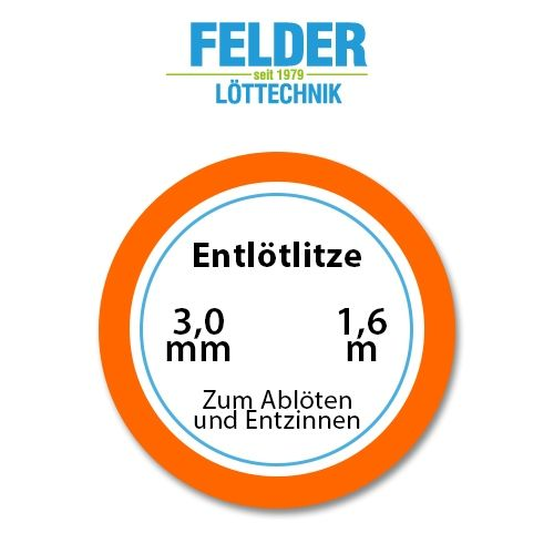 Entlötlitze FELDER, 3,0mm, Kupferlitze, 1,60m Spule