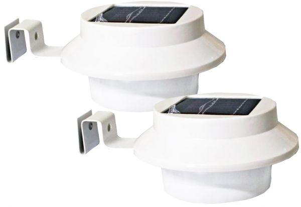 Solar Dachrinnenleuchte mit 3 LED´s, weiß, 2er-Set