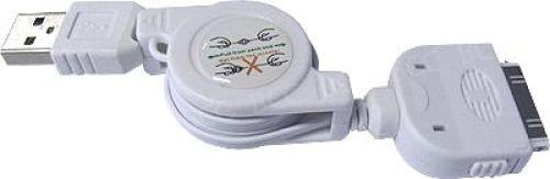 USB Datenkabel (ausziehbar) für iPod/iPhone/iPad in weiß