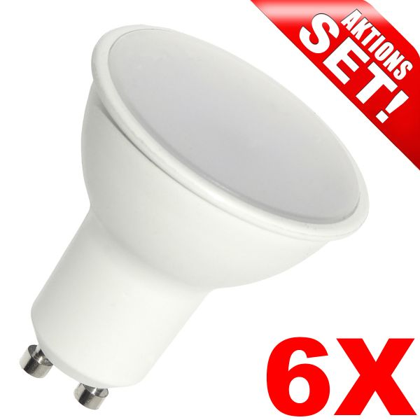LED Strahler GU10, 4W, 300lm, warmweiß, 6 Stück