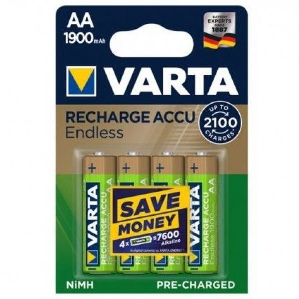 4 Stück AA-Akkus, 1900mAH Varta, Endless-Charge