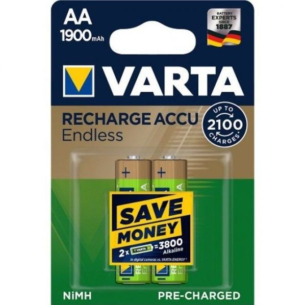 2 Stück AA-Akkus, 1900mAH Varta, Endless-Charge