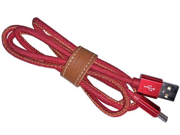 Premium Ladekabel mit Micro-USB Stecker, Textil Rot