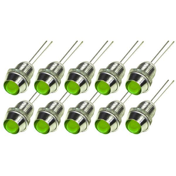 LED mit Chromfassung 6mm, 10er Set, Grün