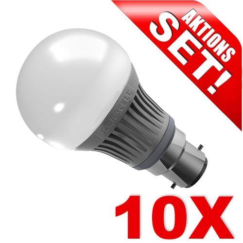 LED Birne B22, 6W, warmweiß dimmbar 10er Set