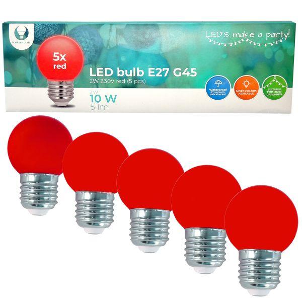 LED Birne für Lichterkette E27, 5er Set Licht rot