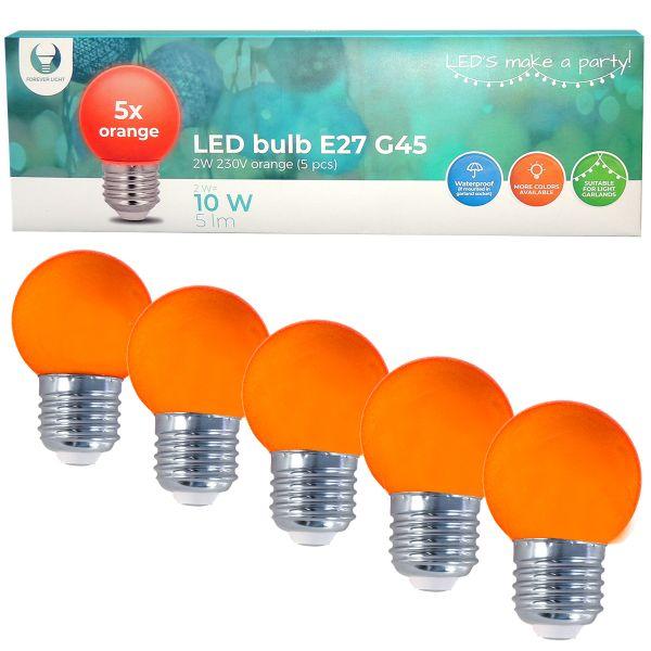 LED Birne für Lichterkette E27, 5er Set Licht orange
