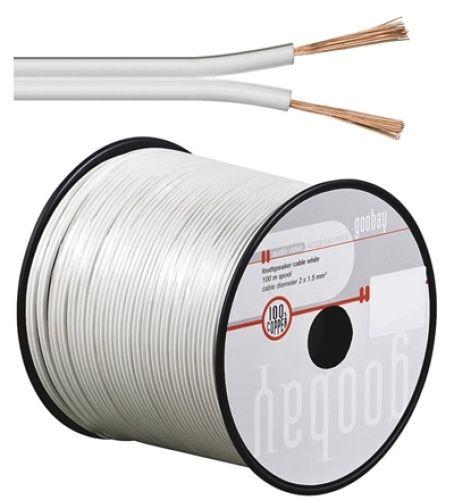 Lautsprecherkabel weiß, Q.2x1,50, 100m, CU