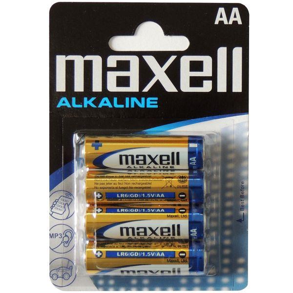 4er Pack AA Mignon LR6 Alkaline Batterien von Maxell