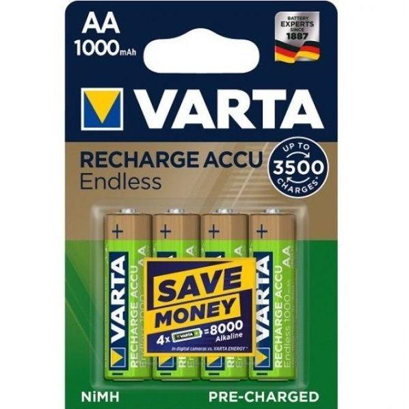 4 Stück AA-Akkus, 2500mAh Varta, Endless-Charge
